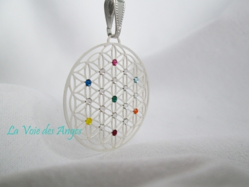 Flower of Life 7 chakras pendant