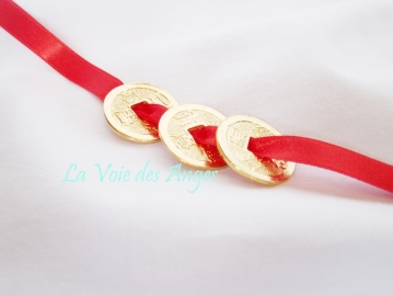 Money Magnet 3 Coins on Red Ribbon